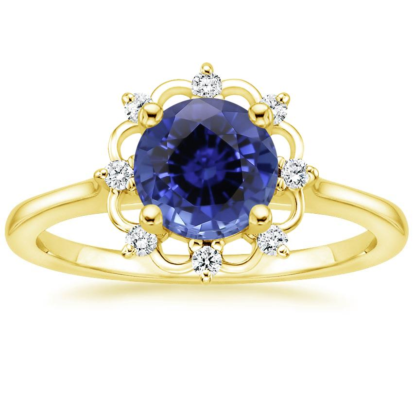 Yellow Gold Sapphire Chantilly Diamond Ring