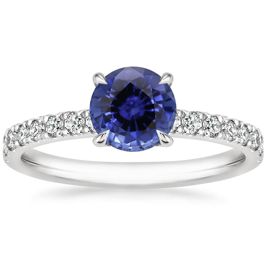 Sapphire Clara Diamond Ring in 18K White Gold