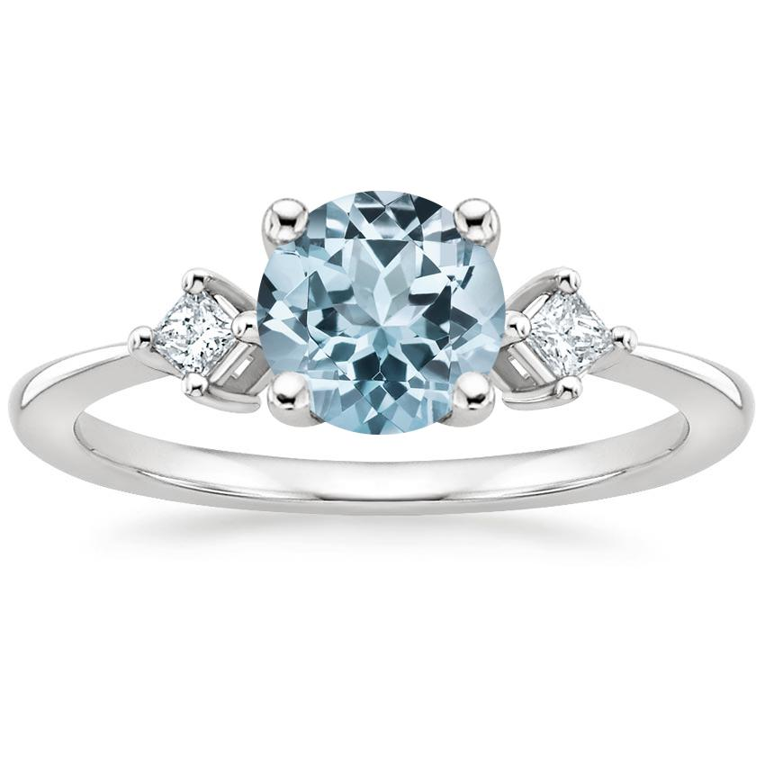 Aquamarine Tria Diamond Ring in 18K White Gold