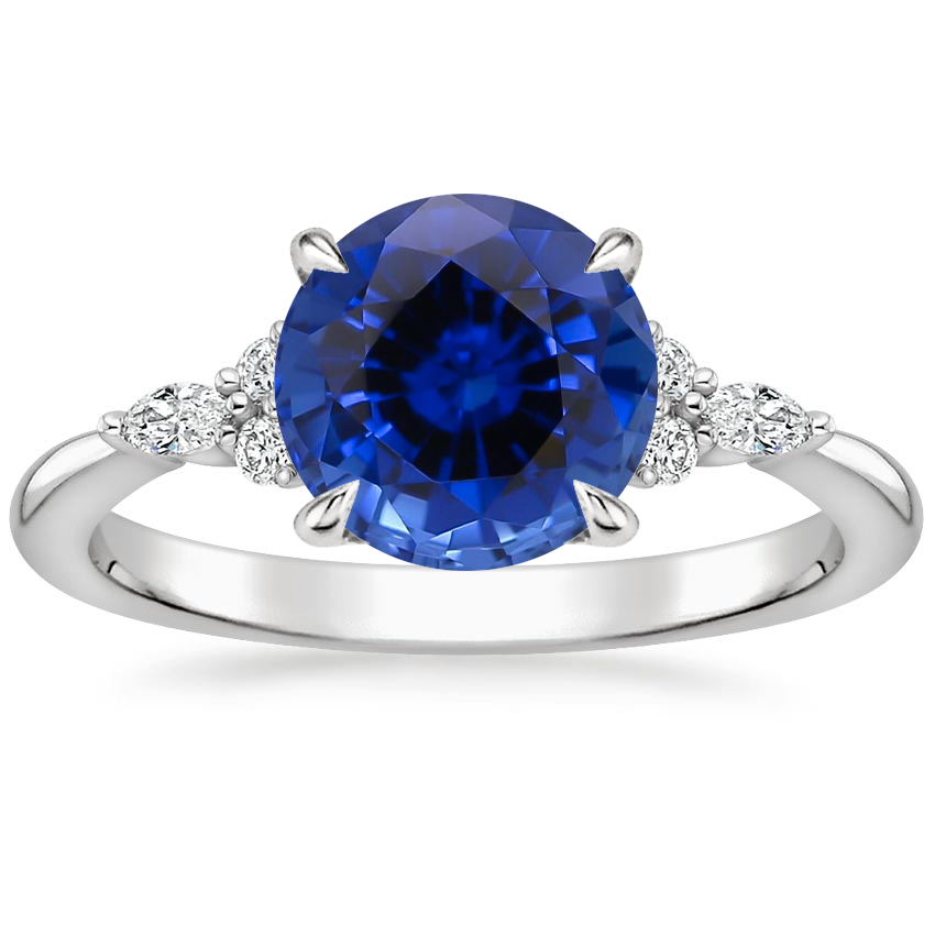 Sapphire Nadia Diamond Ring in 18K White Gold
