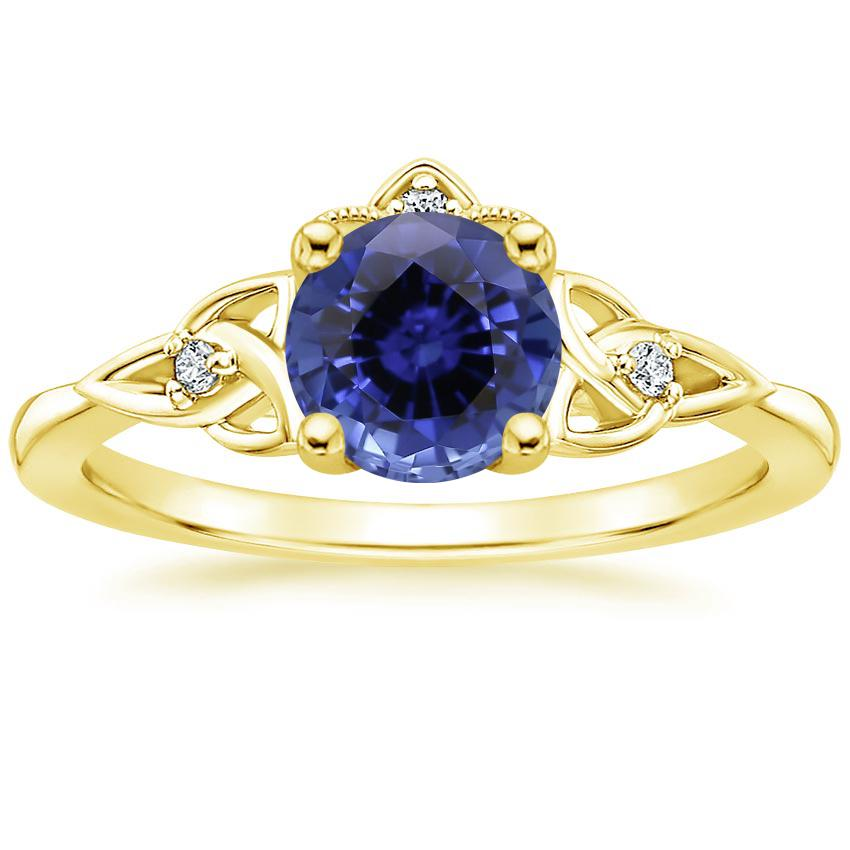 Yellow Gold Sapphire Celtic Crown Diamond Ring