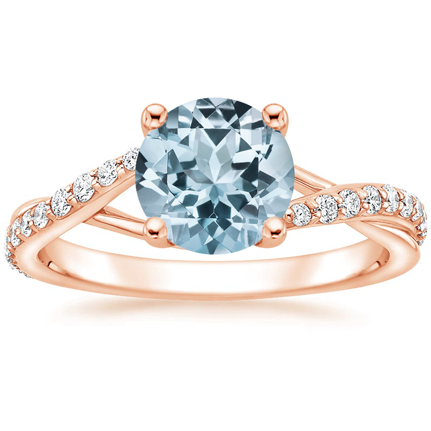Rose Gold Aquamarine Luxe Chamise Diamond Ring (1/5 ct. tw.)