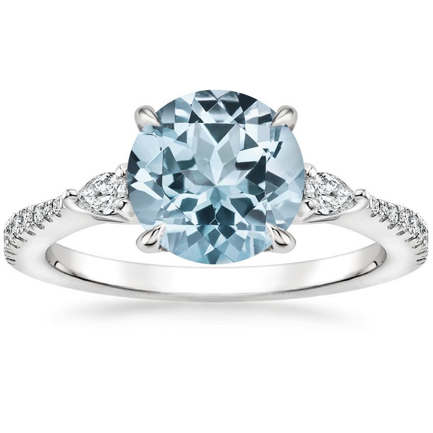 Aquamarine Luxe Aria Diamond Ring (1/5 ct. tw.) in 18K White Gold