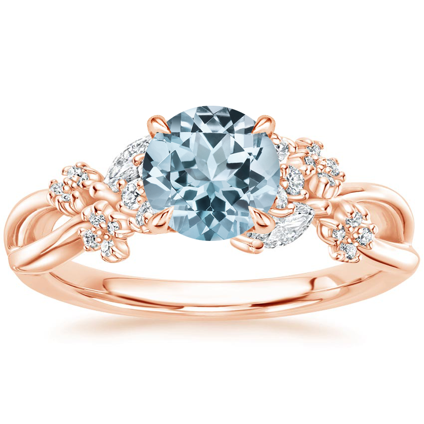 Rose Gold Aquamarine Summer Blossom Diamond Ring (1/4 ct. tw.)