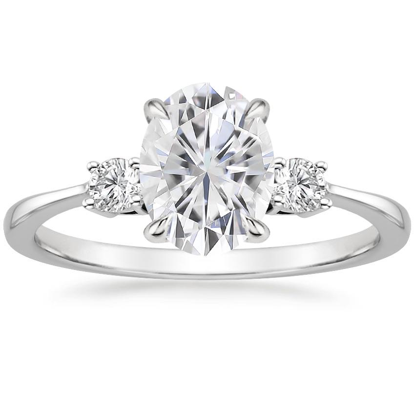 Moissanite Selene Diamond Ring in 18K White Gold