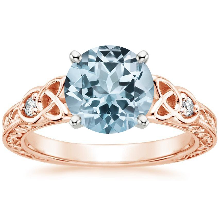 Rose Gold Aquamarine Aberdeen Diamond Ring