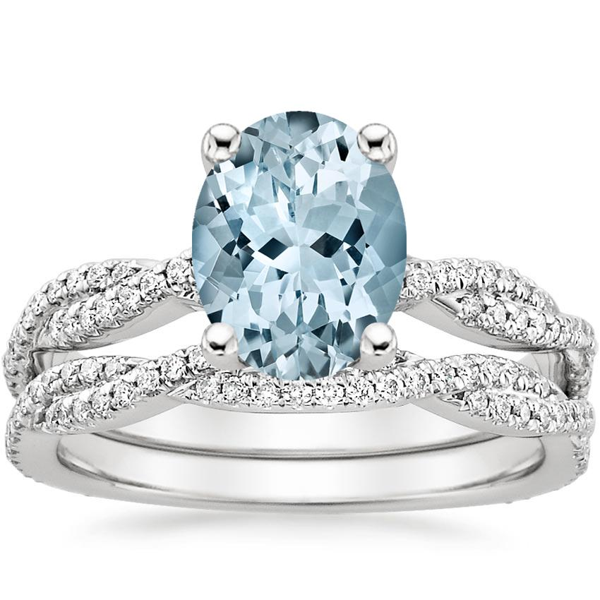 18KW Aquamarine Petite Luxe Twisted Vine Bridal Set (1/2 ct. tw.), top view