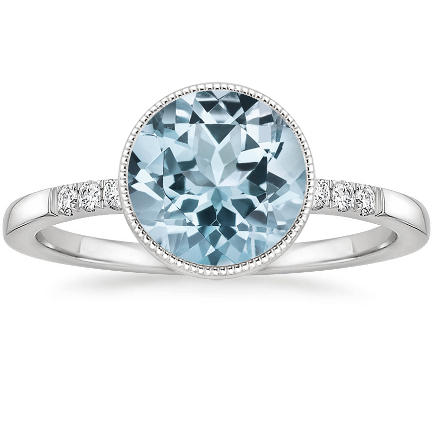 Aquamarine Imogen Diamond Ring in 18K White Gold