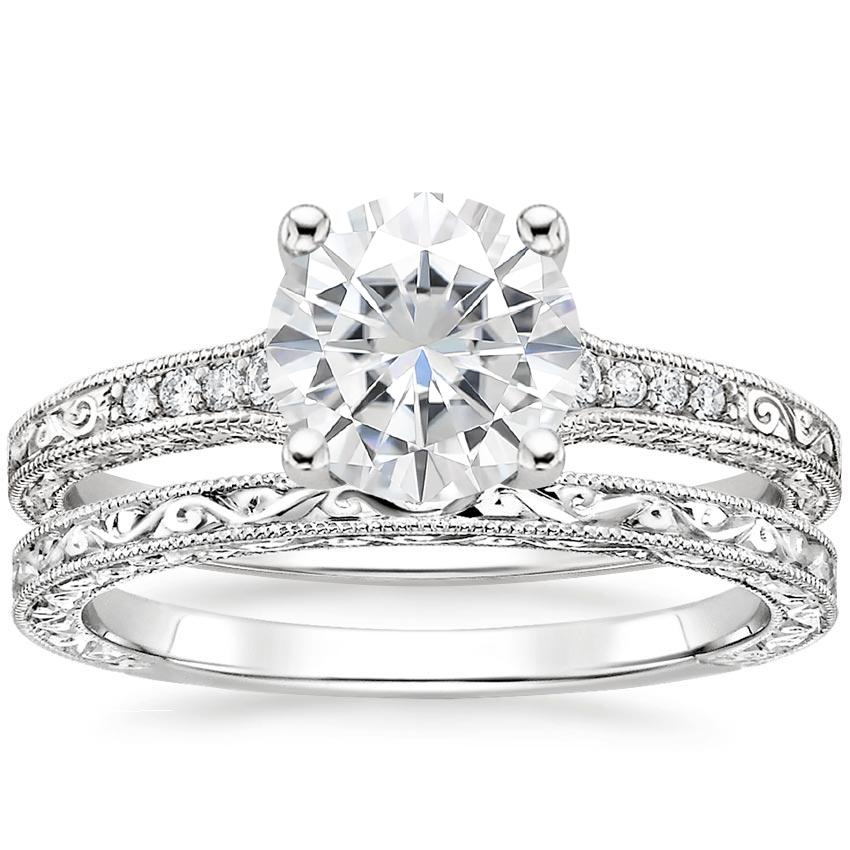18KW Moissanite Luxe Hudson Diamond Bridal Set, top view