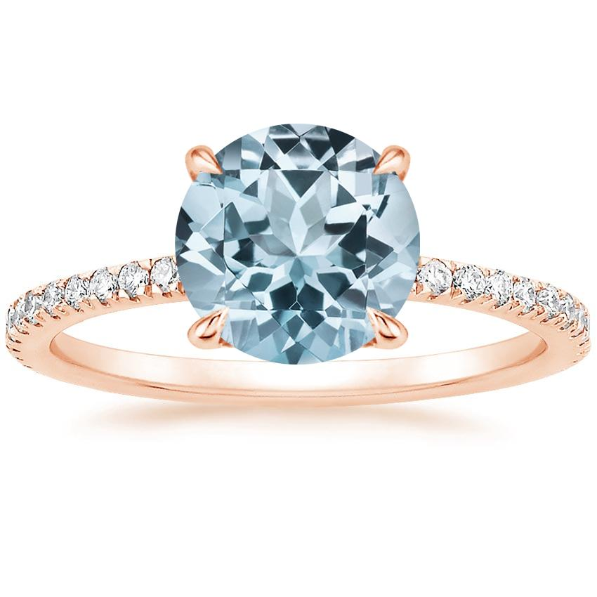 Rose Gold Aquamarine Luxe Viviana Diamond Ring (1/3 ct. tw.)