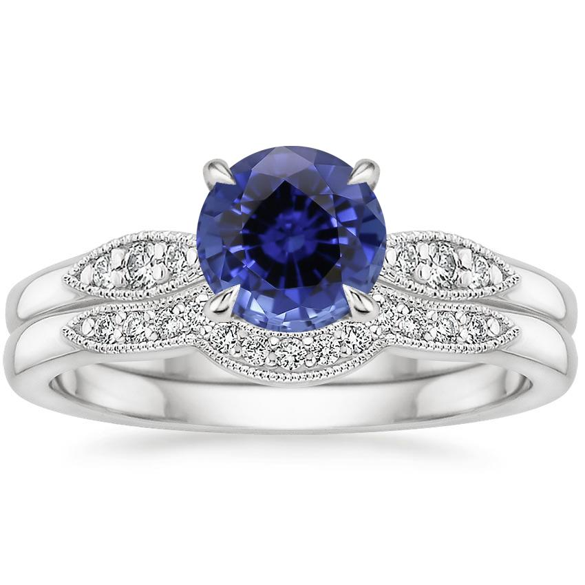 18KW Sapphire Isadora Diamond Bridal Set, top view