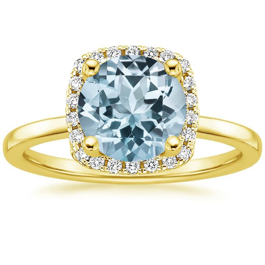 Yellow Gold Aquamarine French Halo Diamond Ring