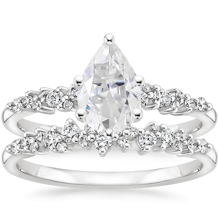 18KW Moissanite Aurora Diamond Bridal Set (1/3 ct. tw.), top view