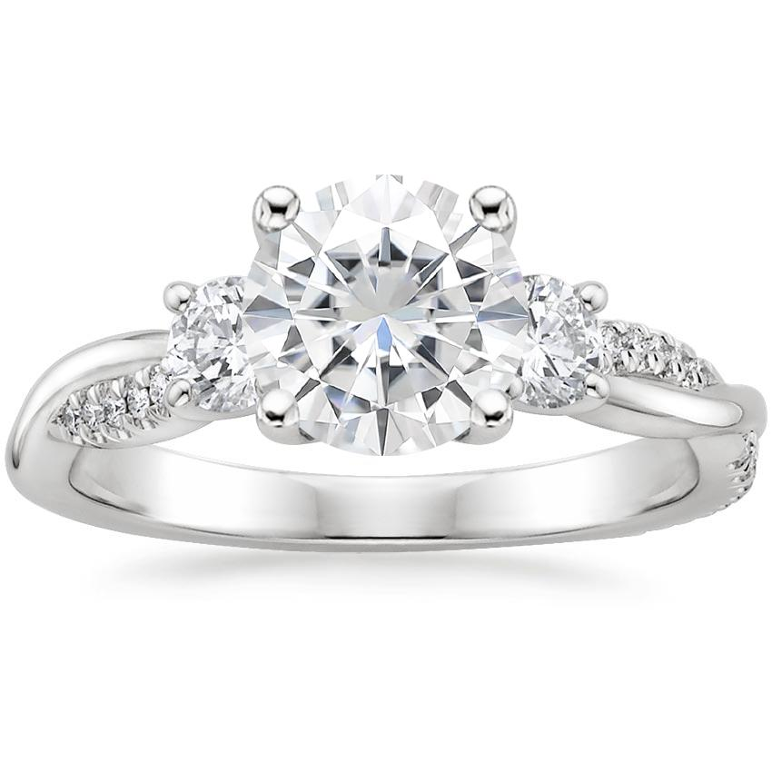 Moissanite Three Stone Petite Twisted Vine Diamond Ring (2/5 ct. tw.) in Platinum