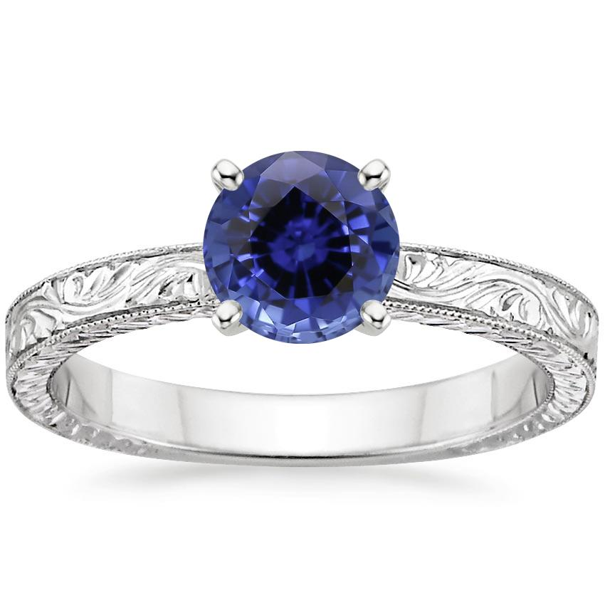 Sapphire Hand-Engraved Laurel Ring in 18K White Gold