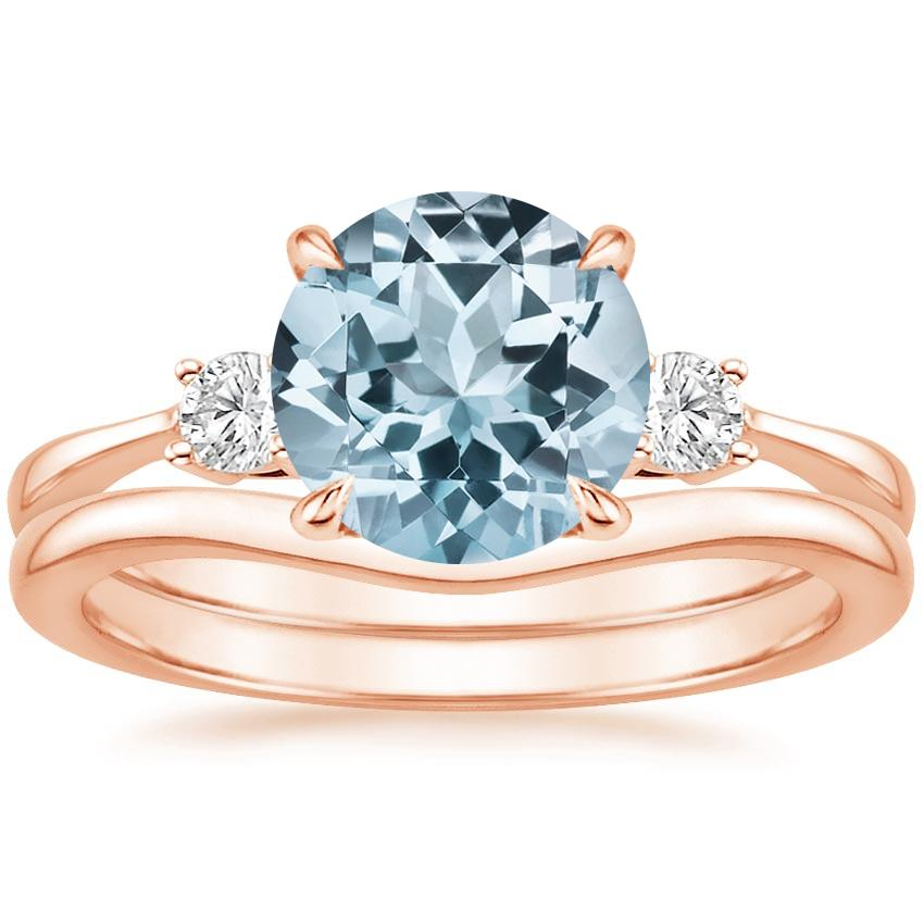 14KR Aquamarine Selene Diamond Ring with Petite Curved Wedding Ring, top view