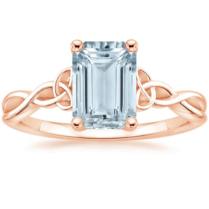 Rose Gold Aquamarine Entwined Celtic Love Knot Ring
