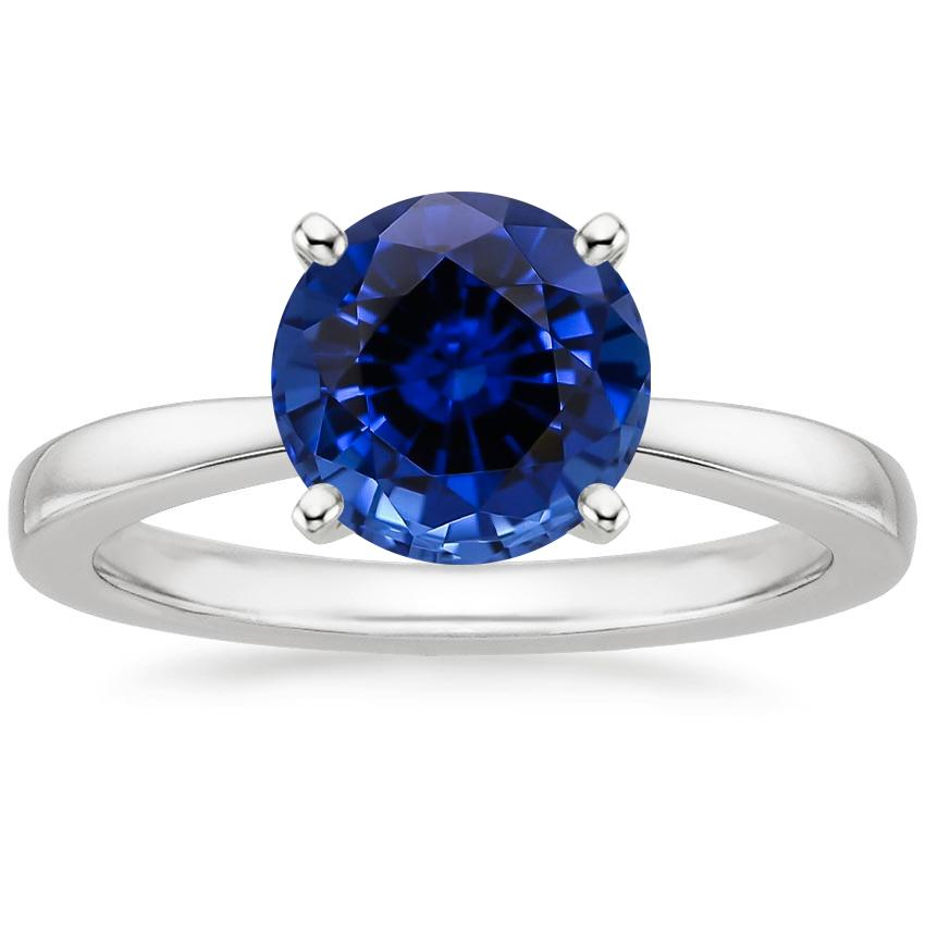 Lab Created Sapphire Petite Taper Ring in 18K White Gold