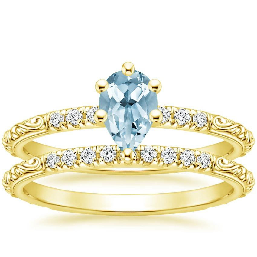 18KY Aquamarine Adeline Diamond Bridal Set, top view