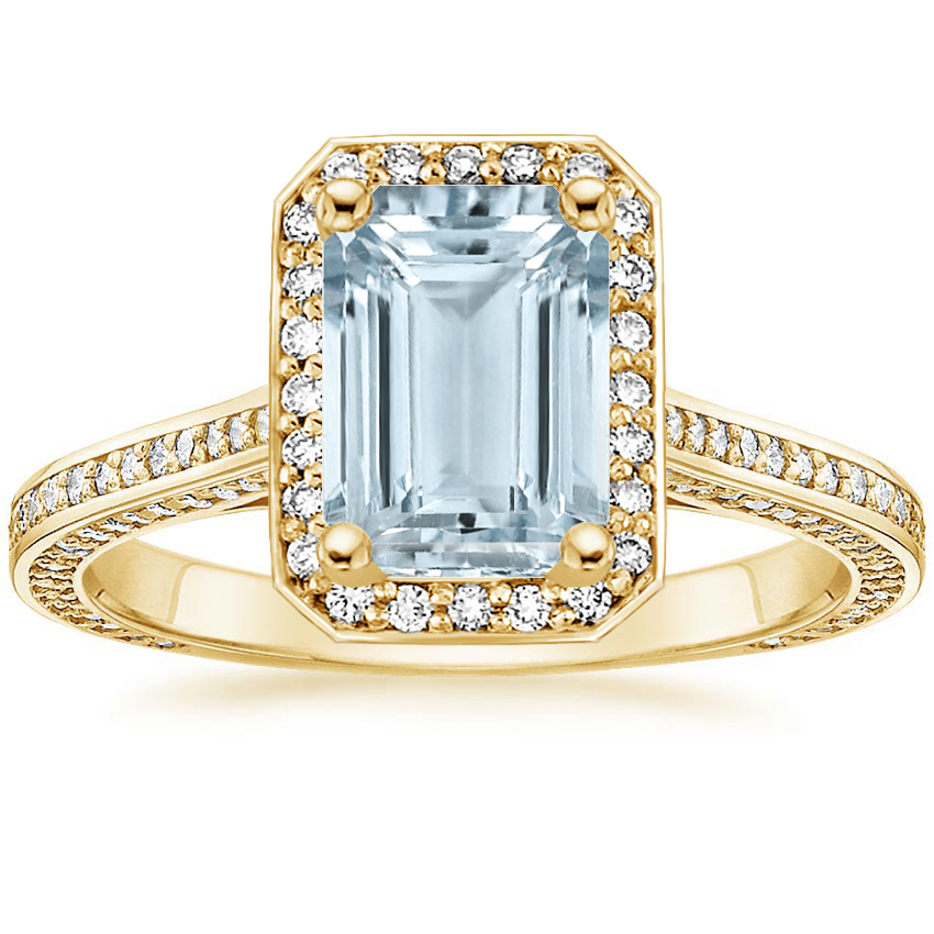 Yellow Gold Aquamarine Enchant Halo Diamond Ring