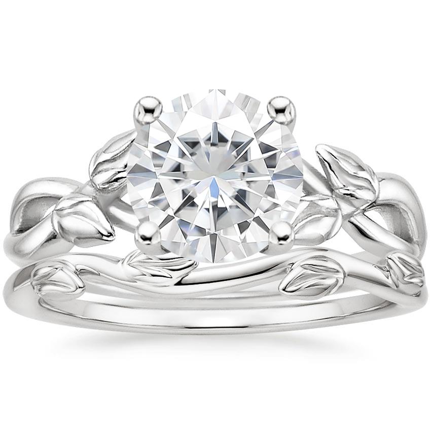 PT Moissanite Budding Willow Ring with Winding Willow Ring, top view