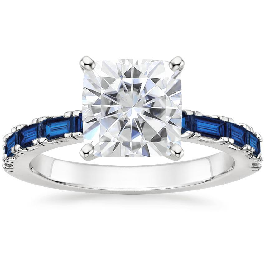 Moissanite Gemma Ring with Sapphire Accents in 18K White Gold