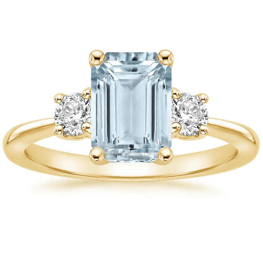 Yellow Gold Aquamarine Serena Diamond Ring (1/3 ct. tw.)