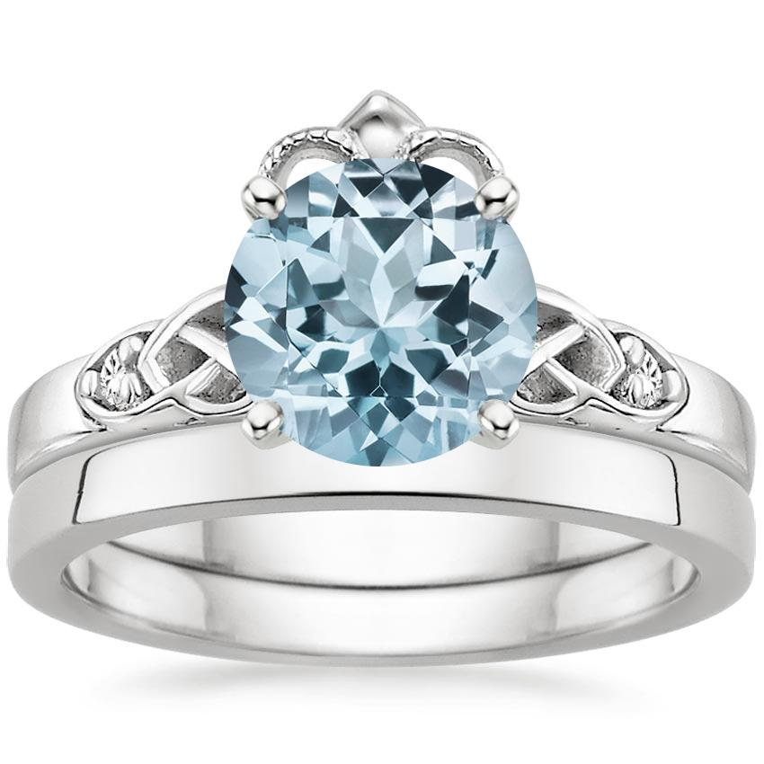 18KW Aquamarine Celtic Claddagh Diamond Bridal Set, top view