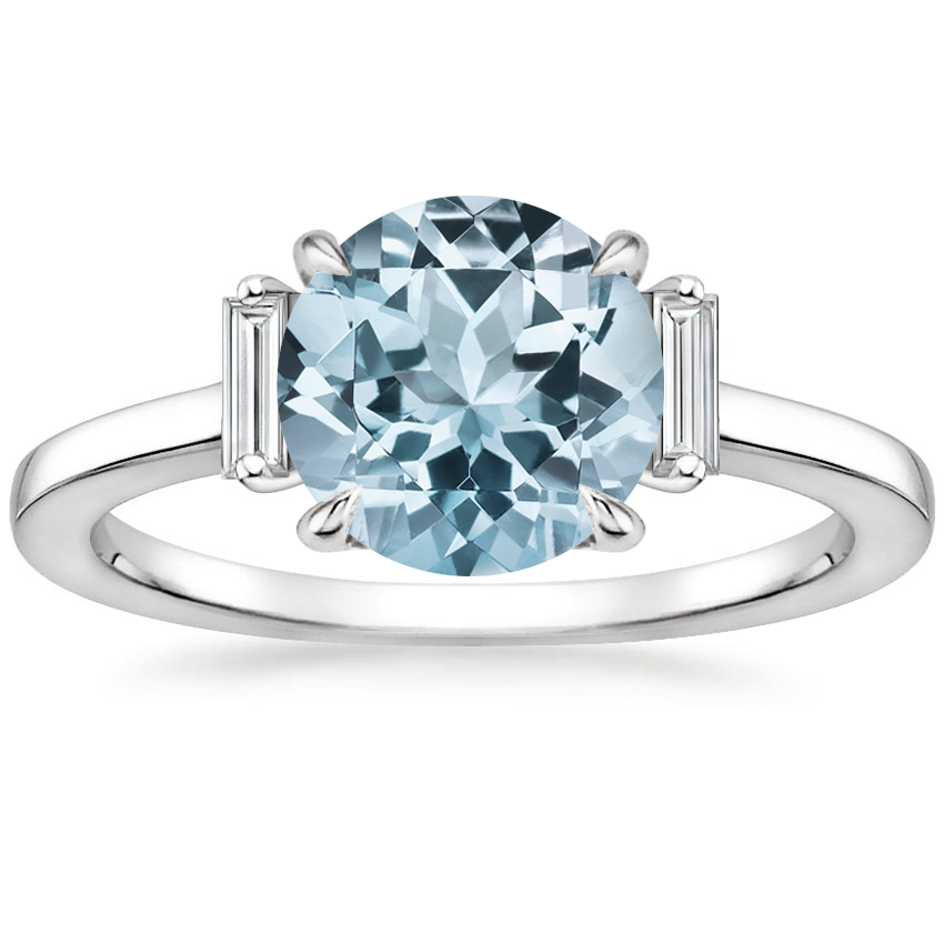 Aquamarine Piper Diamond Ring in 18K White Gold