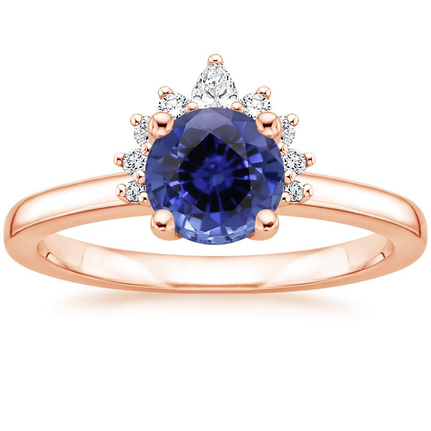 Rose Gold Sapphire Crescent Diamond Ring