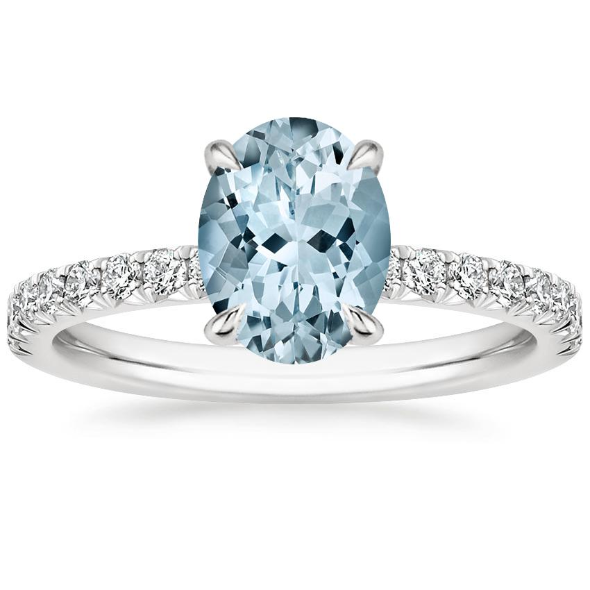 Aquamarine Amelie Diamond Ring (1/3 ct. tw.) in 18K White Gold