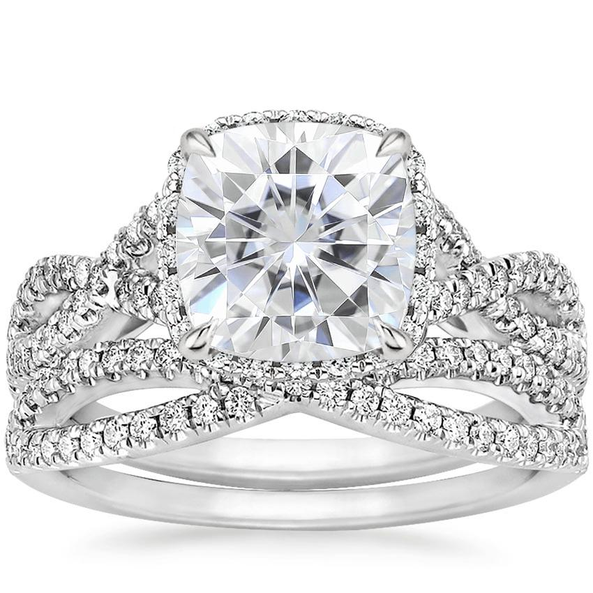 18KW Moissanite Entwined Halo Diamond Bridal Set (1/2 ct. tw.), top view