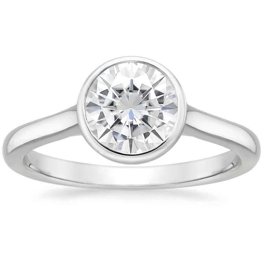 Moissanite Luna Ring in 18K White Gold