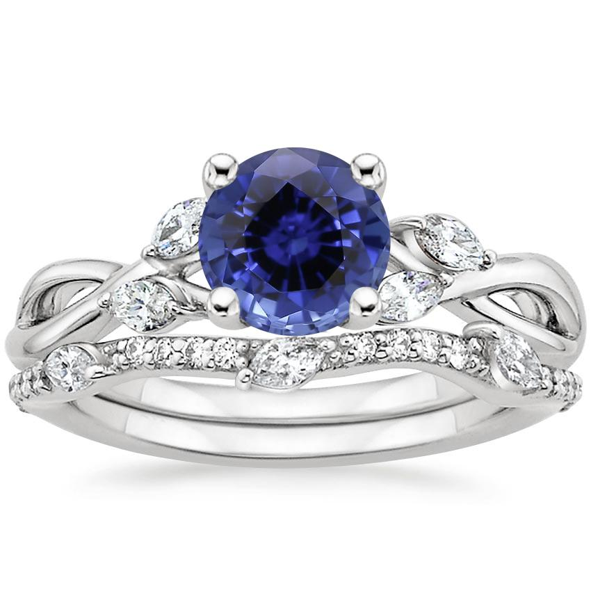 18KW Sapphire Willow Diamond Ring (1/8 ct. tw.) with Luxe Willow Diamond Wedding Ring (1/5 ct. tw.), top view