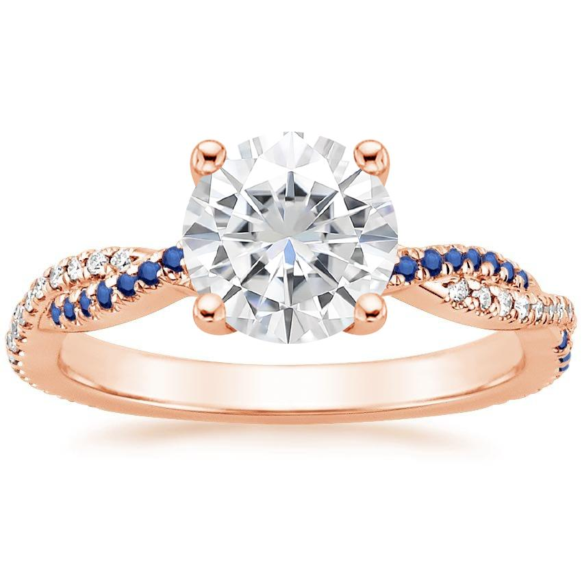 Rose Gold Moissanite Petite Luxe Twisted Vine Sapphire and Diamond Ring (1/8 ct. tw.)