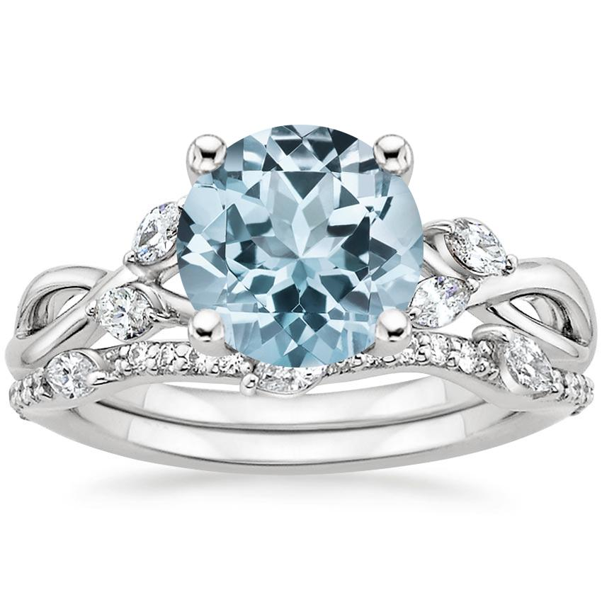 18KW Aquamarine Willow Diamond Ring (1/8 ct. tw.) with Luxe Willow Diamond Wedding Ring (1/5 ct. tw.), top view
