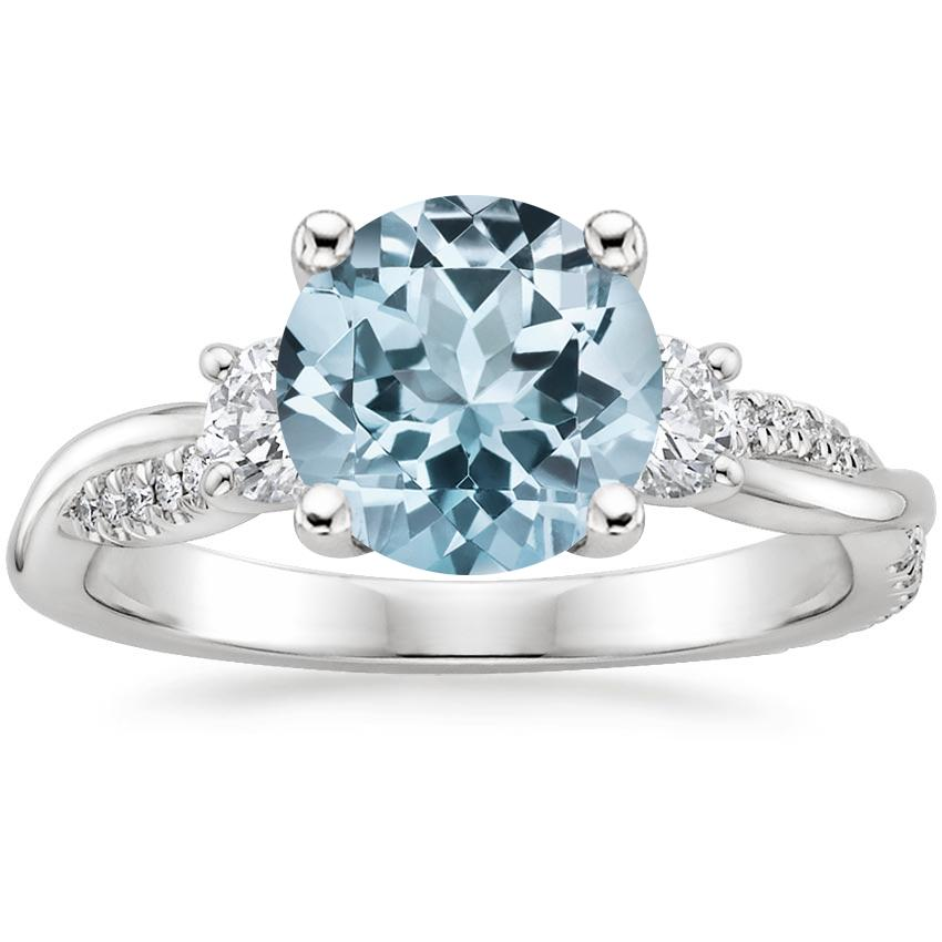 Aquamarine Three Stone Petite Twisted Vine Diamond Ring (2/5 ct. tw.) in 18K White Gold