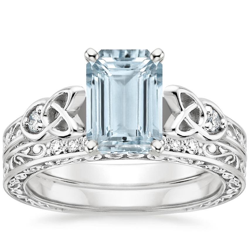 18KW Aquamarine Aberdeen Diamond Bridal Set, top view