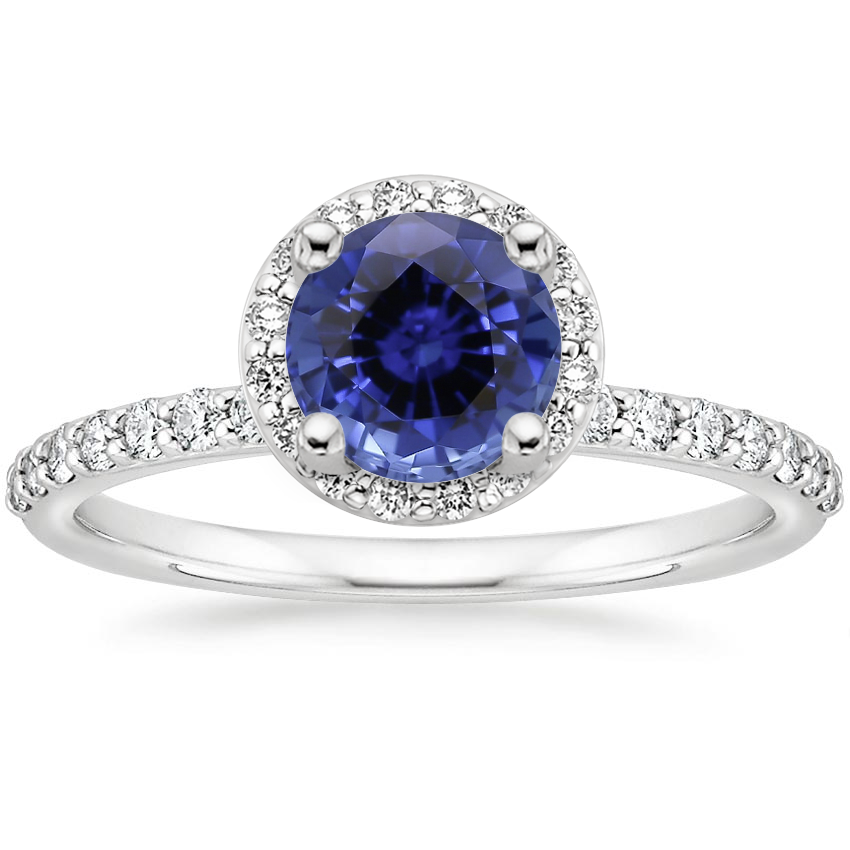 Sapphire Shared Prong Halo Diamond Ring in 18K White Gold