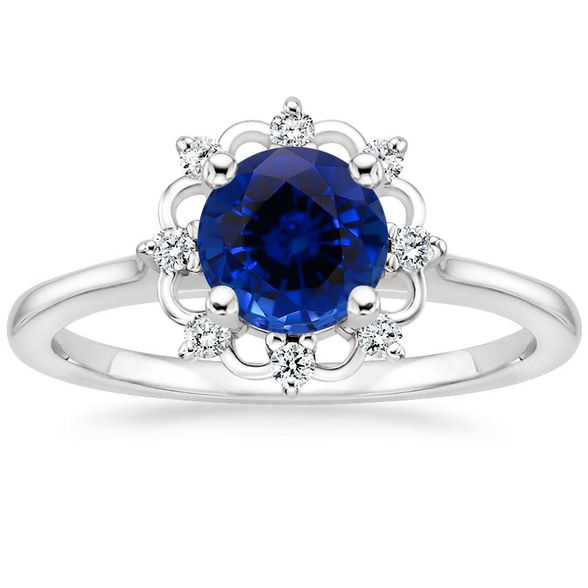 Sapphire Chantilly Diamond Ring in 18K White Gold
