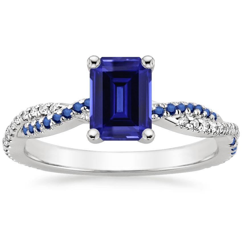 Sapphire Petite Luxe Twisted Vine Sapphire and Diamond Ring (1/8 ct. tw.) in 18K White Gold