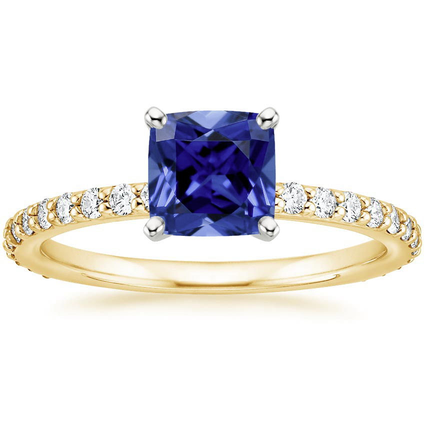 Yellow Gold Sapphire Luxe Petite Shared Prong Diamond Ring (1/3 ct. tw.)