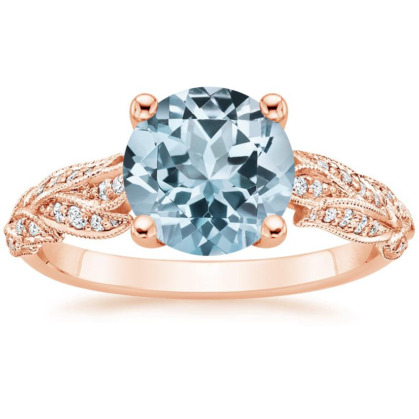 Rose Gold Aquamarine Plume Diamond Ring