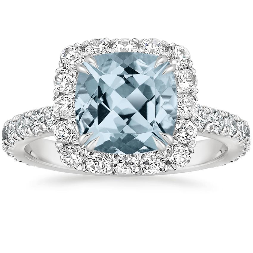 Aquamarine Luxe Sienna Halo Diamond Ring (3/4 ct. tw.) in Platinum