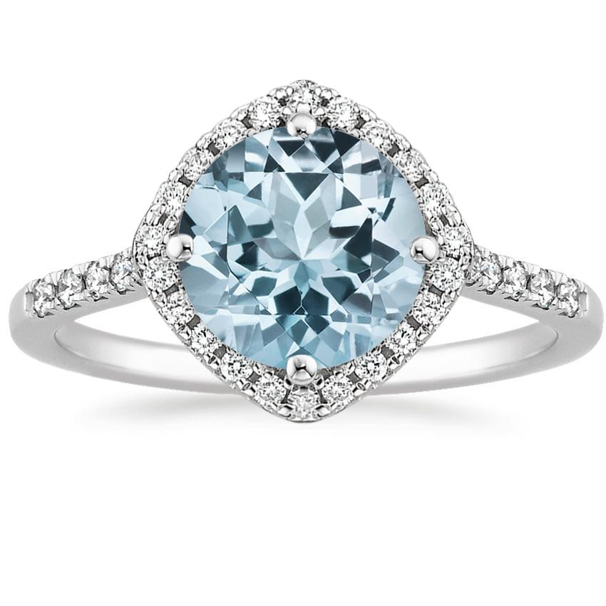Aquamarine Cometa Diamond Ring in Platinum