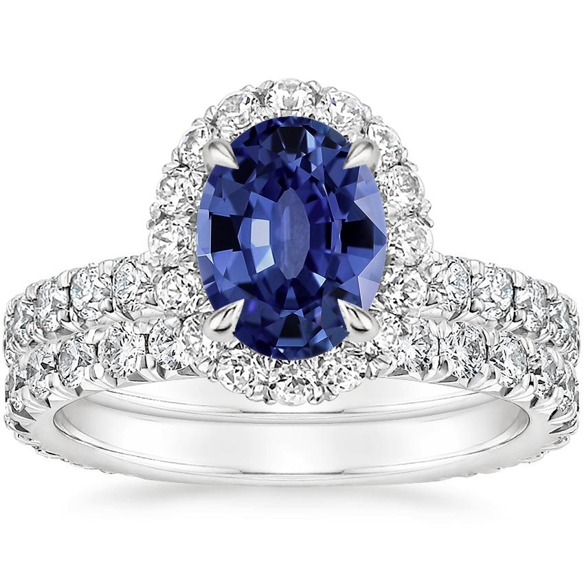 18KW Sapphire Estelle Diamond Bridal Set (1 1/3 ct. tw.), top view
