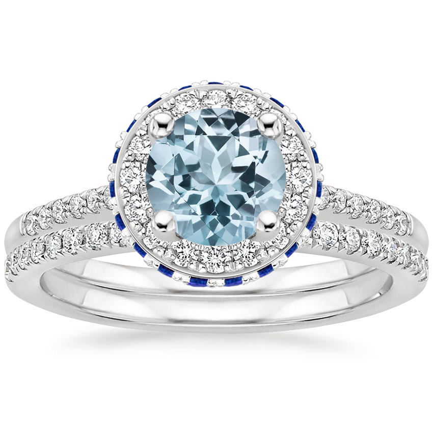 18KW Aquamarine Circa Diamond Ring with Sapphire Accents with Ballad Diamond Ring (1/6 ct. tw.), top view