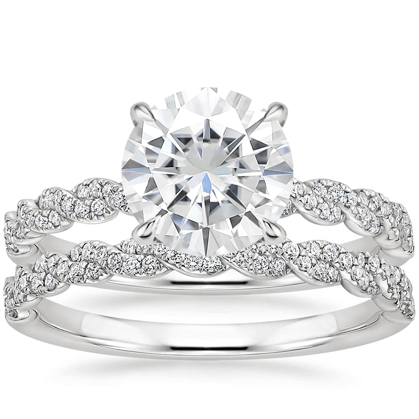 18KW Moissanite Cadence Diamond Bridal Set, top view