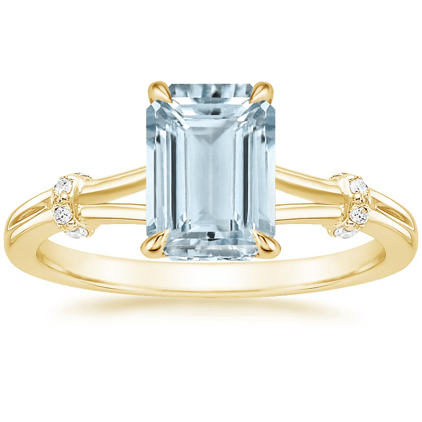 Yellow Gold Aquamarine Odelia Diamond Ring