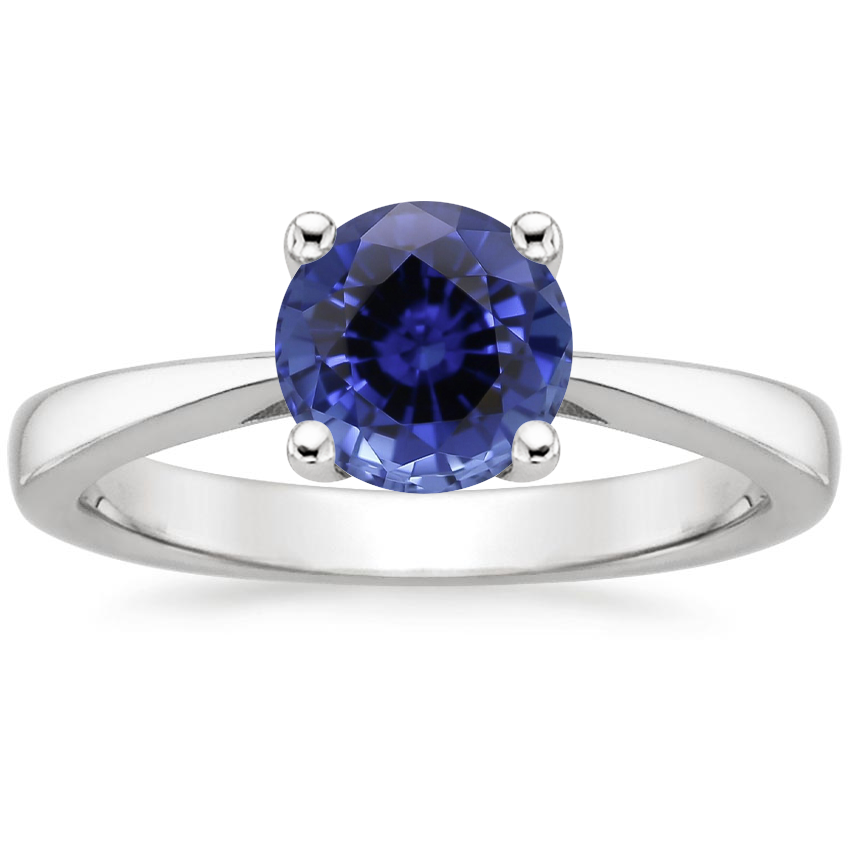 Sapphire Petite Tapered Trellis Ring in 18K White Gold